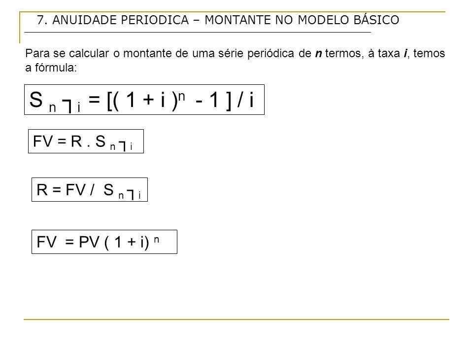 S n ┐i = [( 1 + i )n - 1 ] / i FV = R . S n ┐i R = FV / S n ┐i